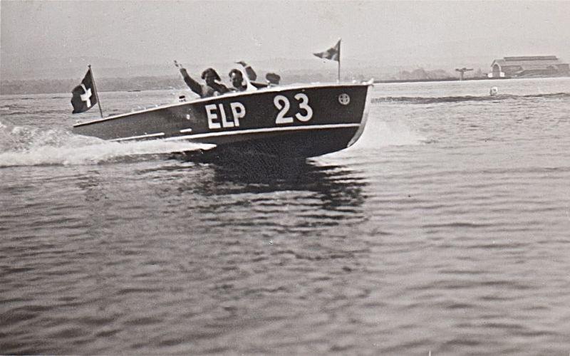 Rennmotorboot ELP (Emil Leemann Pfäffikon) auf dem Bodensee