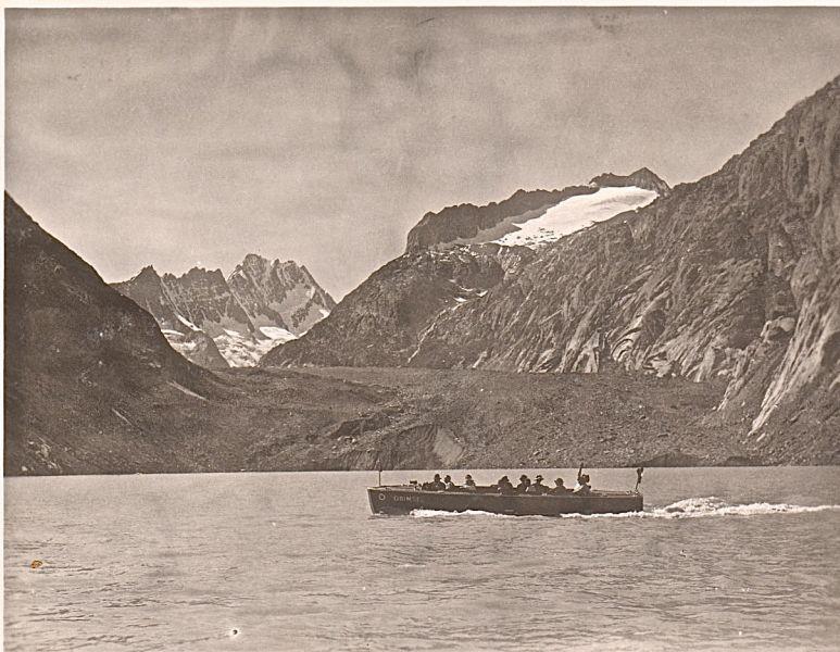 Motorboot GRIMSEL auf dem Grimselstausee um 1930
