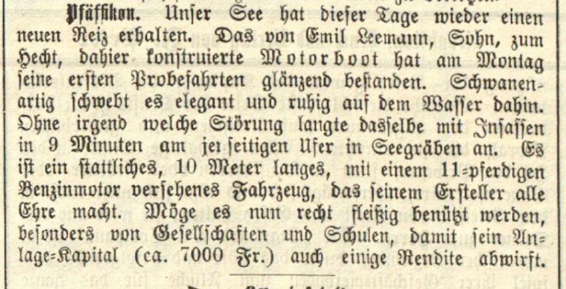 Artikel im Wochenblatt vom 25. Mai 1911.